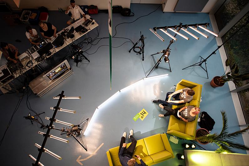 Das Livestream-Studio von oben.